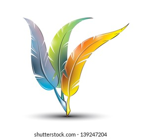 Colourful artistic feathers, EPS 10, isolated