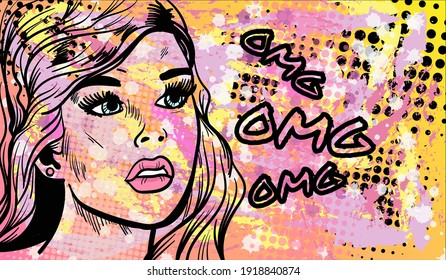 Colourful artistic vector illustration in the mix of pop art and street art styles. The abstract comic lady with the sign Omg. Hand-drawn vector illustration.