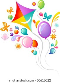Colourful background with kite and balloons