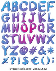 Colourful big letters of the alphabet on a white background