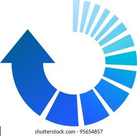 A Colourful Blue Vector Circular Arrow Illustration