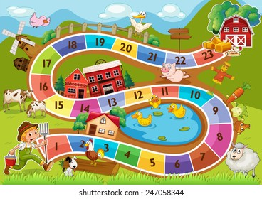 A colourful boardgame with numbers