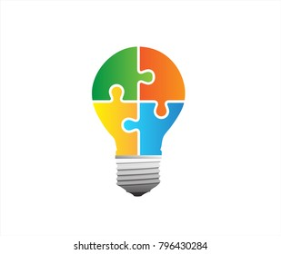 Colourful bulb with puzzle in vector graphics