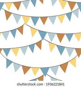 Colourful bunting flags vector seamless pattern. Happy Birthday ribbons background. Festal kid party backdrop.