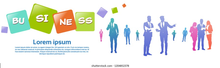 colourful business people silhouette, group of diversity businessman, successfull team concept, banner copy space vector illustration