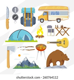 Colourful camping vector icon set for your business, web sites, presentations, advertising etc. Quality design illustrations, elements and concept. Flat style.