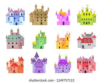 Colourful cartoon fairytale castle illustrations