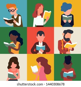 Colourful collage style background on literature, reading and book lovers. Abstract portraits of various readers characters in trendy flat style, vector