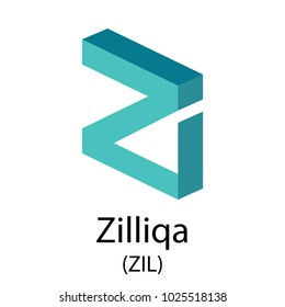 Colourful cruptocurrency zilliqa symbol isolated on white background