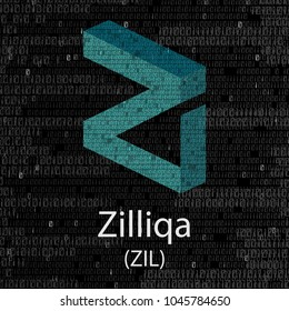 Colourful cruptocurrency zilliqa symbol isolated on digital background