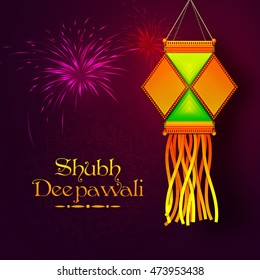 Colourful Diwali Lamp (Kandil) hanging on shiny fireworks background, Vector greeting card design for Indian Festival of Lights Celebration.