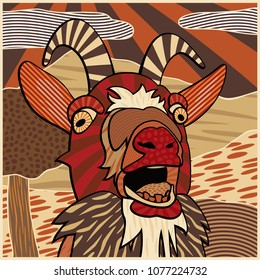 Colourful editable vector illustration of the head of a bleating goat