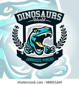 Colourful emblem, logo, dangerous raptor ready to attack, sharp claws, dinosaur of the Jurassic period. Vector illustration, sporty and dynamic style, printing on T-shirts