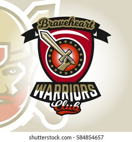 Colourful emblem, logo, sticker, hand holding a sword, warriors club. Vector illustration, printing on T-shirts