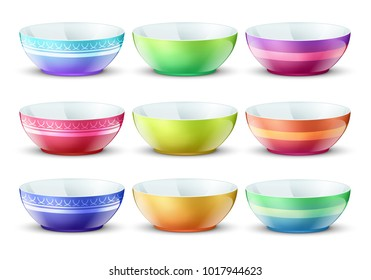 Colourful empty bowls isolated. Porcelain kitchen food plates vector set. Plate porcelain tableware, colored dishware bowl collection illustration