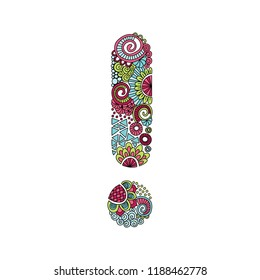 Colourful exclamation mark, vector illustration with flowers, swirls and abstract doodles.