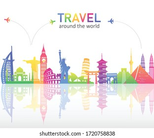 Colourful famous landmarks skyline on white background. Travel around the world. vector illustration in flat design. tourism and transport concept.