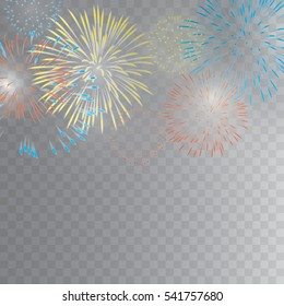 colourful fireworks vector on transparent background
