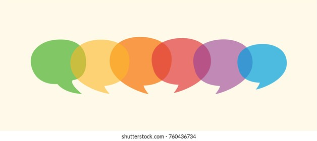 Colourful flat dialogue speech bubbles in vector graphics