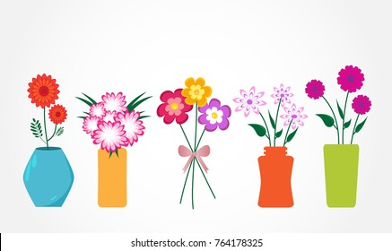 Colourful Flowers in Vases Vector Illustration. No transparencies.