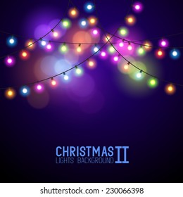Colourful Glowing Vector Christmas Lights.