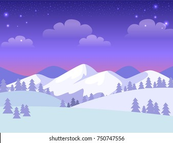 Colourful greeting card with mountains covered with white snow. Vector cartoon illustration of amazing evening town and many spruces on hills, blue-violet sky with clouds and stars in flat design.
