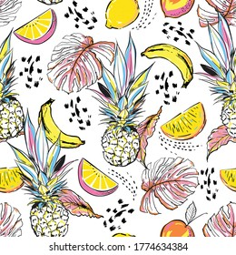 Colourful hand drawn sketch summer fruits ,pineapple, orange, lemon and leaves seamless pattern in vector Disign for all fashion, fabric and all print on white