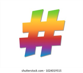 Colourful hashtag symbol in vector graphics