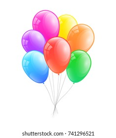 Colourful helium balloons. Vector.
