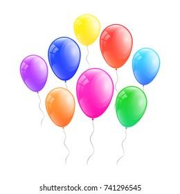 Colourful helium balloons. Vector.