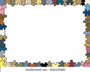 colourful jigsaw puzzle shaped doodle frame