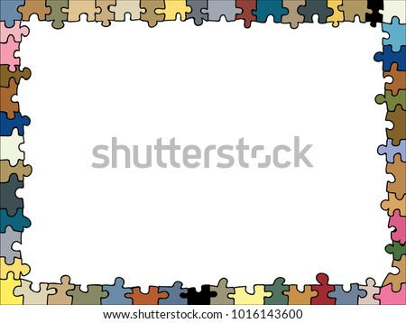 Colourful Jigsaw Puzzle Shaped Doodle Frame Stock Vector Royalty