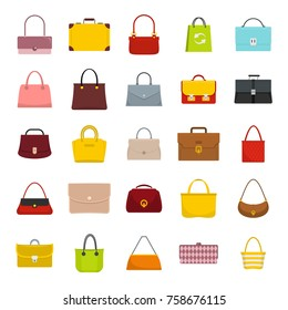 Colourful ladies and mans handbags, woman accessories vector collection isolated on white background. Handbag luxury, accessory bag female and male vector illustration