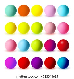 Colourful matte spheres collection isolated on white. Blue, yellow, orange, green, pink, purple colours. Vector illustration for your design.