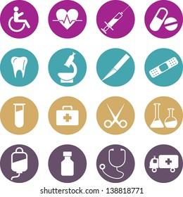 Colourful Medical icons set. Vector Illustration, eps 10