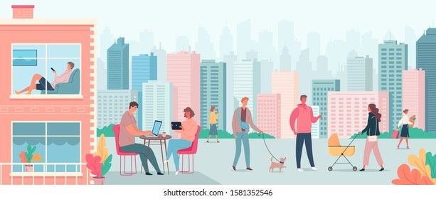 Colourful modern cityscape and vector cartoon people walking in the street