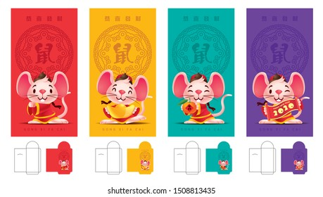 Colourful money packet ang pao set. Cute little rat wishing Happy Chinese New Year 2020 Red Packet Template set. Year of the rat. Translation: Gong Xi Fa Cai / Rat / Fortune - vector template