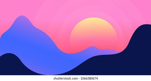 Colourful  mountain landscape gradient background