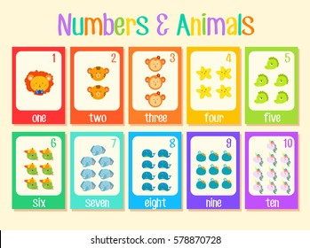 colourful number cards learning kit with cute animals set one