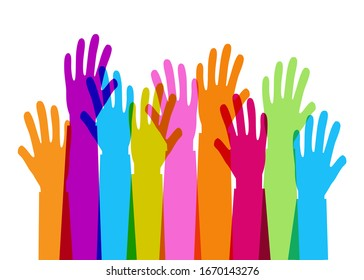 Colourful overlapping silhouettes of hands raised, donation and charity concept vector illustration