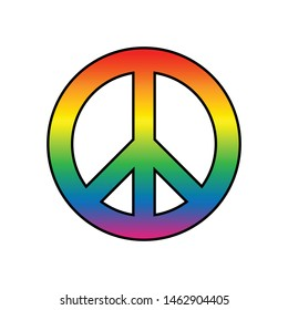 Colourful Peace Sign LGBT Flag Icon Rainbow Spectrum Gay Love Pride Isolated Freedom Vector Illustration