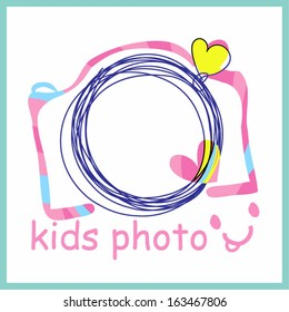colourful pink camera clipart for kids photo shooting , kids party, doodle sketch camera with two color love hearts