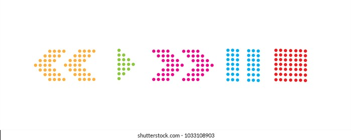 Colourful Play, Fast Forward, Rewind, Stop, Pause dot icons in vector graphics