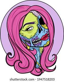 Colourful pop-art comic zombie woman. Print for t-shirt, sticker etc. Hand-drawn vector illustration.