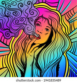 Colourful psychedelic line art with the abstract smoking woman. Sigarette illustration. Doodles and lines abstract hand-drawn vector art.