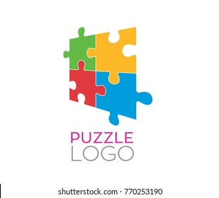 Colourful puzzle sample logo in vector graphics