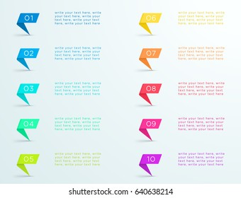 Colourful Ribbon Standing With Number Bullet Points 1 to 10