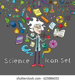 Colourful Science Hand Drawing Funny Doodle Style Elements Pack with Mad Scientist Cartoon Character Vector Art Design Illustration