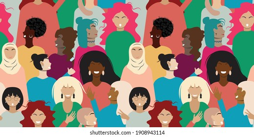Colourful seamless pattern with women. For textile, paper, print, packaging. Vector pattern.