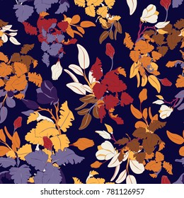 Colourful Seamless Vector Botanical Pattern